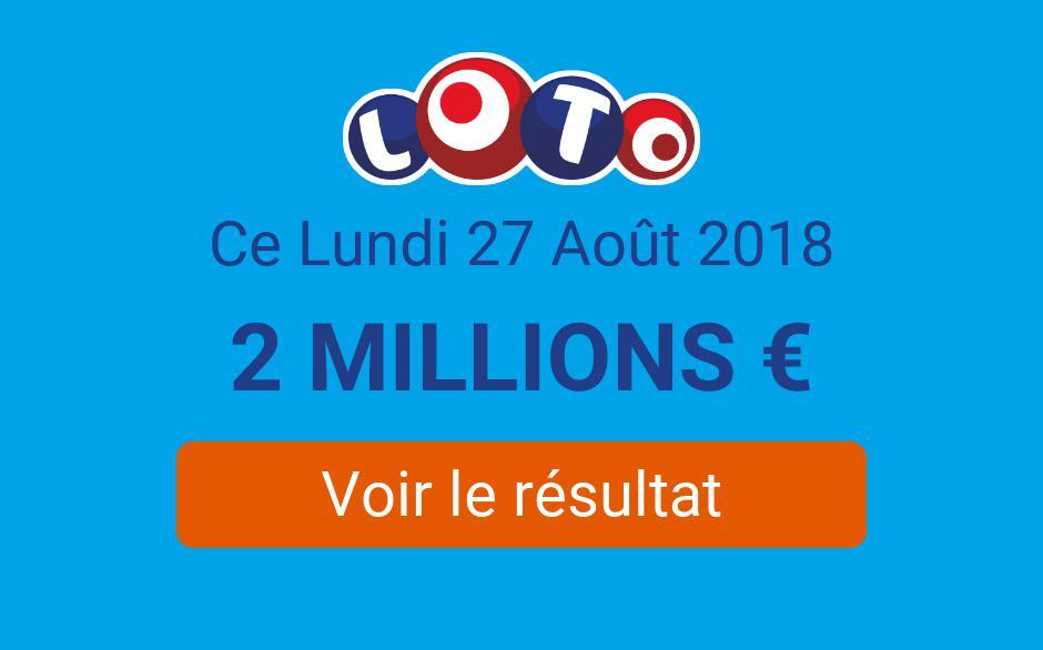 Résultats du Loto du  Lundi 27 Août 2018